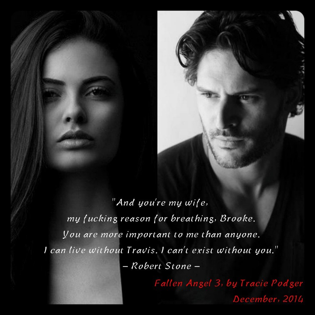 A teaser quote from Fallen Angel, Part 3, by Tracie Podger, against a backdrop of a collage depicting the two principal characters