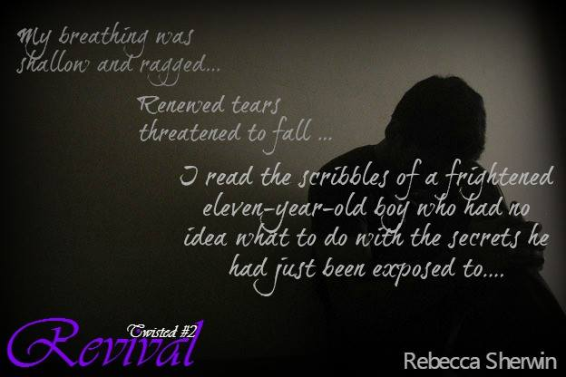A photo teaser of a man in shadow, featuring a quote from Revival, a new erotic romance-suspense novel by author Rebecca Sherwin