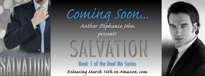 Photo Banner for the Cover Reveal of Salvation, a contemporary adult romance by Stephanie John