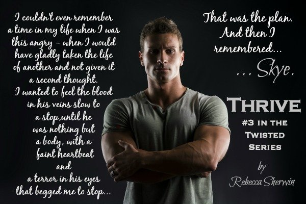 Photo of a muscular young man representing the principal character in Thrive, with a quote from the novel.