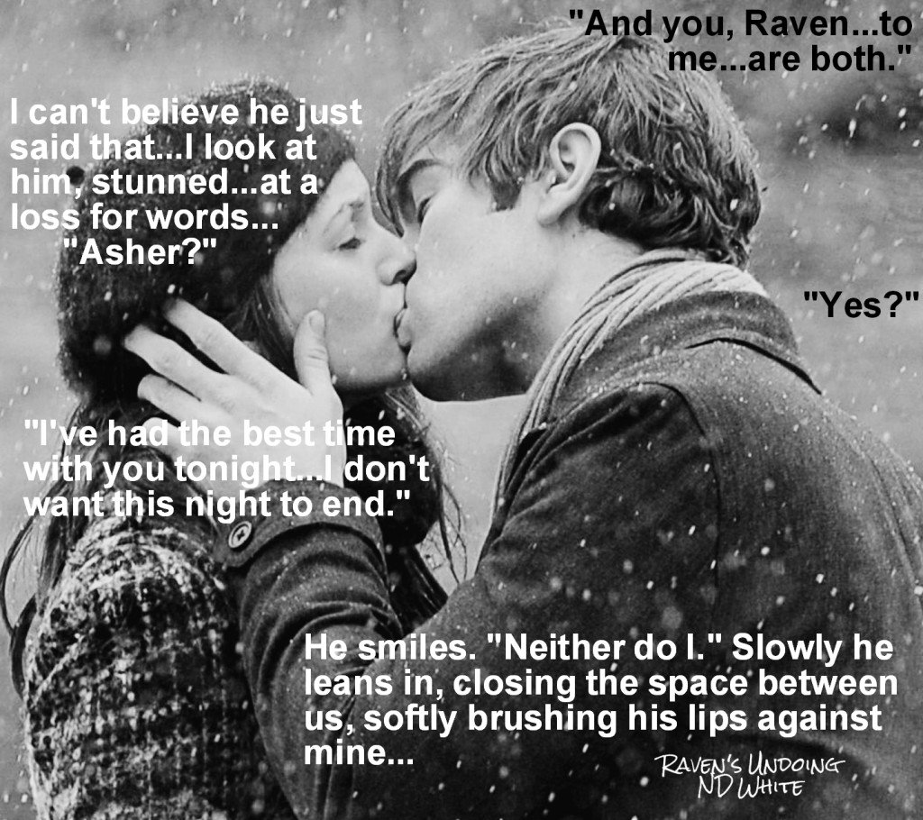 Photo teaser depicting a scene and a quote from Raven's Undoing, a new novel by N. D. White
