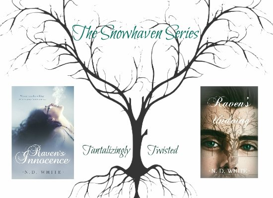 Photo display of the books in the Snowhaven Series, by N. D. White